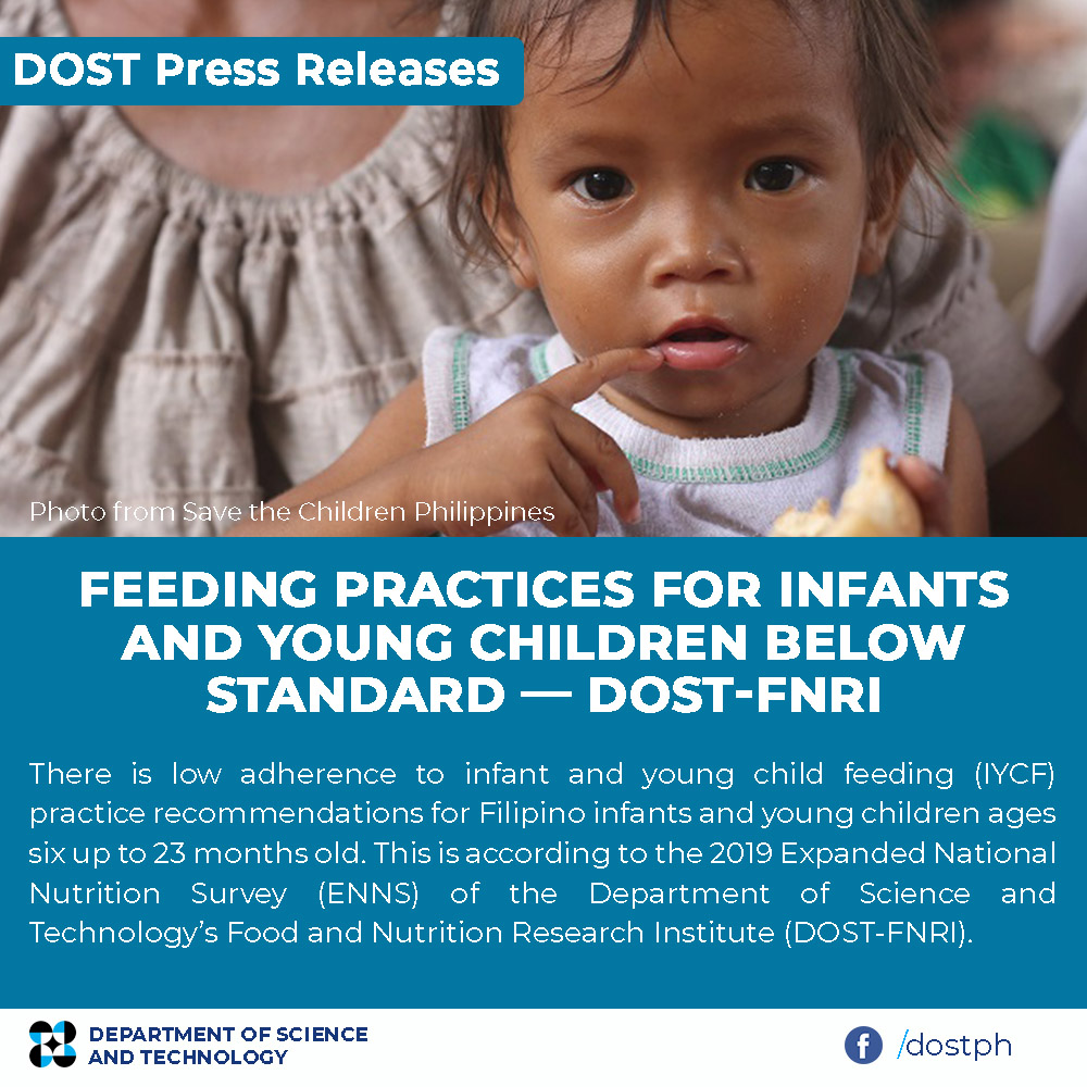 Feeding practices for infants and young children below standard — DOST-FNRI image