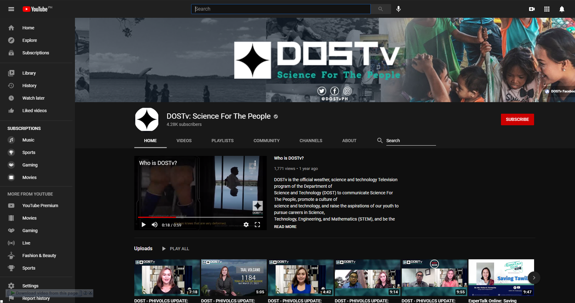 Follow us on Youtube! DOSTv: Science For The People image